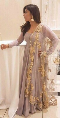 Hypnotic Rosy Brown Georgette Party Wear Suit