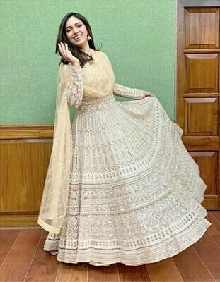 Bhumi Pednekar Georgette Cream Colore Indian Dress