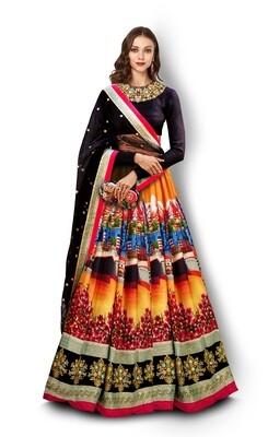 Beautiful Black Color Digital Printed Lehenga Choli