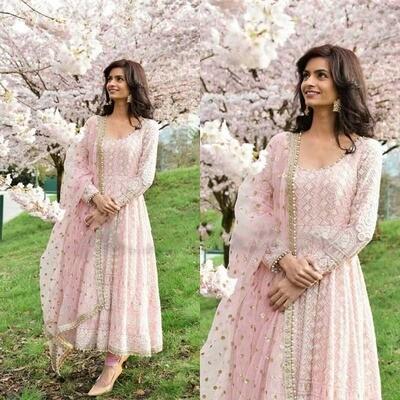 Designer Light Pink Embroidery Anarkali Suit