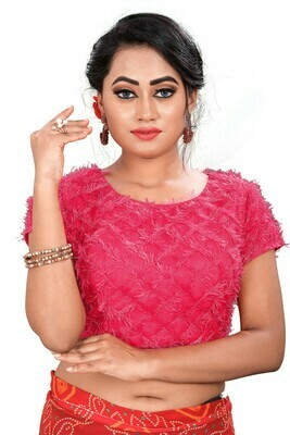 Latest  Rose Pink Color Party Wear Banglori Blouse