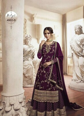 Gorgeous Heavy Purple Color With Embroidery Stich Work Suit