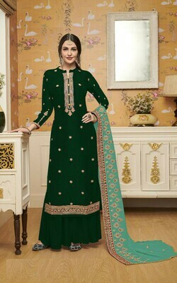 Fancy Green Color Designer Sharara Suit