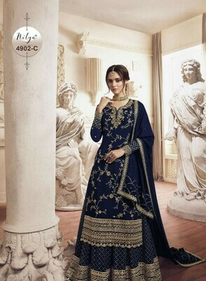Gorgeous Heavy Royal Blue Color With Embroidery Stich Work Suit