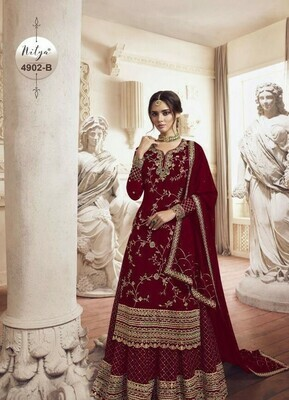 Gorgeous Heavy RedColor With Embroidery Stich Work Suit