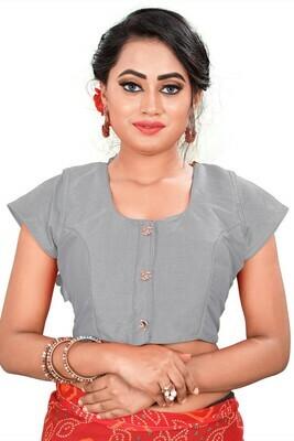 Stylish  Grey Color Round Neck Women Blouse
