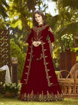 Wonderful Maroon Color Heavy Embroidered Anarkali Suit