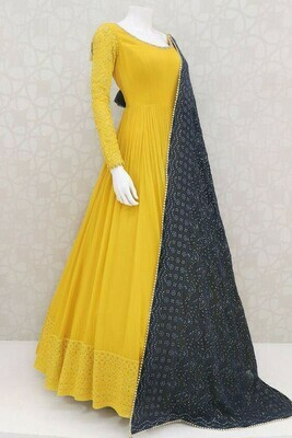 Yellow Color Heavy Georgette Anarkali Suit