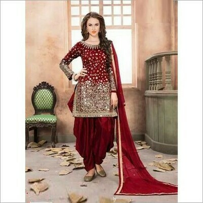 Blissful Amazing Red Color Patiyala Dress For Girls in low rate