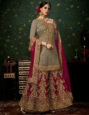 Wonderful Purple Color Banarasi Style Sharara Suit Collation
