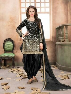 Mind Blowing Mirror Work Party Wear Black Patiyala Dress
