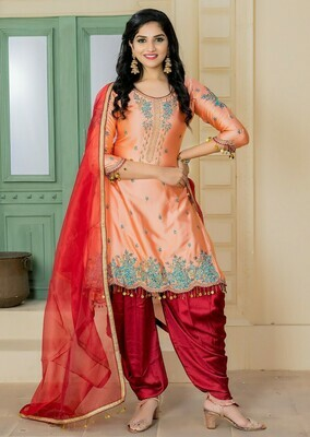 Stylish Light Peach Color Party Wear Embroidery Salwar Suit