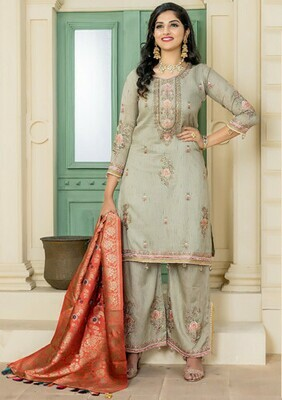 Celebrity Selection Presenting Olive Green Color Party Wear Salwar Suit for women