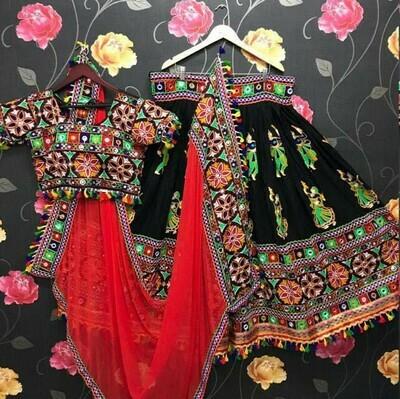 Resham Embroidered Addasilk Lehenga Choli In Black