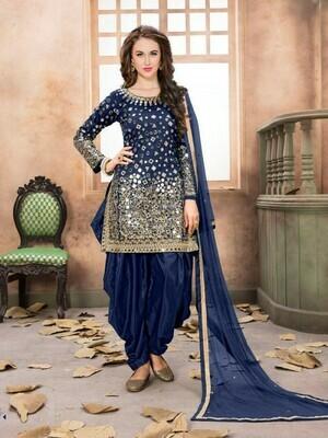 Fab Blue Real Mirror Work Patiyala Suit