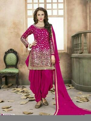 Beguiling Taffeta Silk Purple Dhoti Style Dress