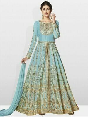 Women Sky Blue Color Silk Anarkali Dress