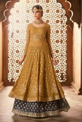 Yellow Color Anarkali Wedding Wear Suit
