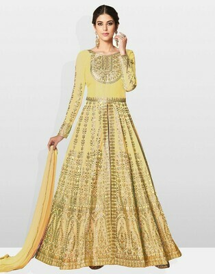 Yellow Party Wear Embroidered Silk Anarkali Suit
