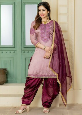 New Stunning Rosy Taupe Color Party Wear Embroidery Salwar Suit