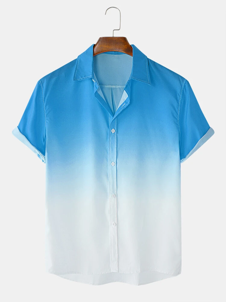 Mens Blue and White Faded Designer Fold Down Collar Polyester Shirt