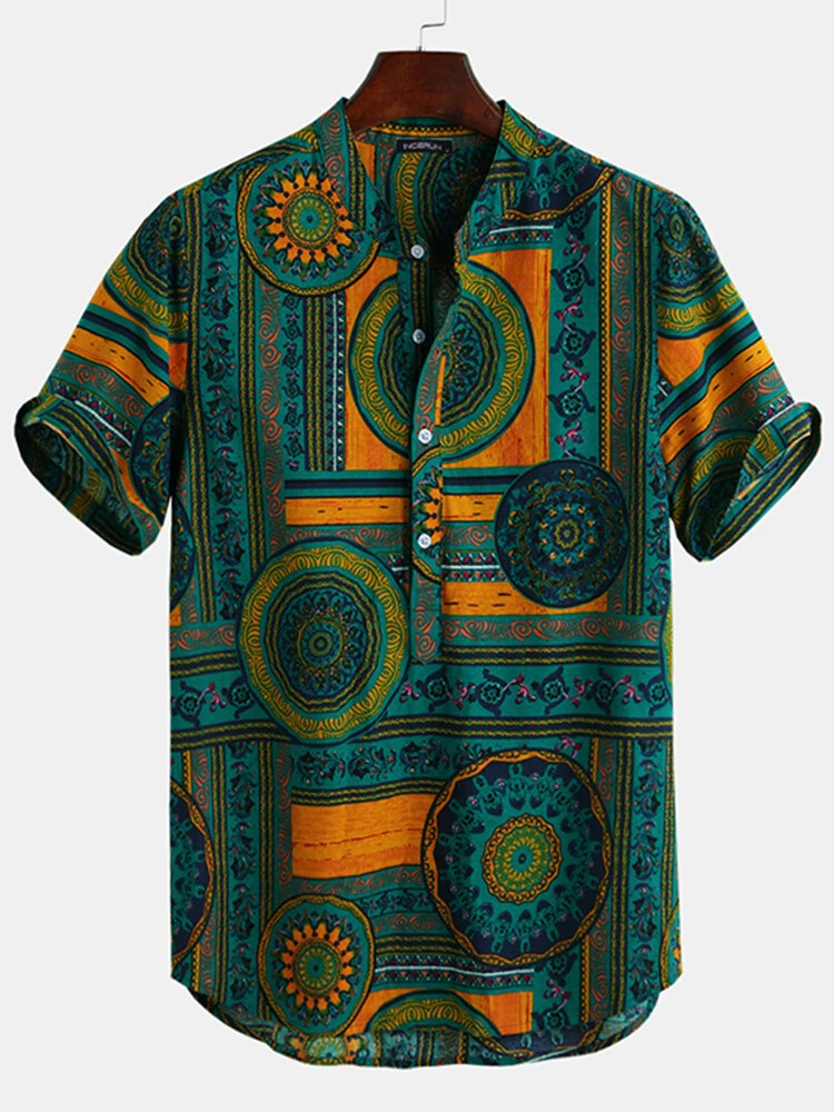 Mens Floral Ethnic Shirts Summer Beach Dashiki Floral Casual Full Stiched Top Tee