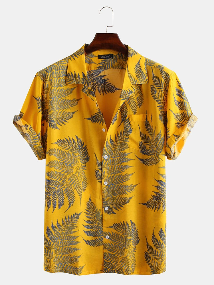 Mens Yellow Pine Leaves Cotton Breathable Fully Stitched Shirt