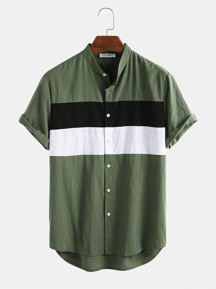 Mens Green Light Breathable Block Patch Work Short Sleeve Cotton Shirt