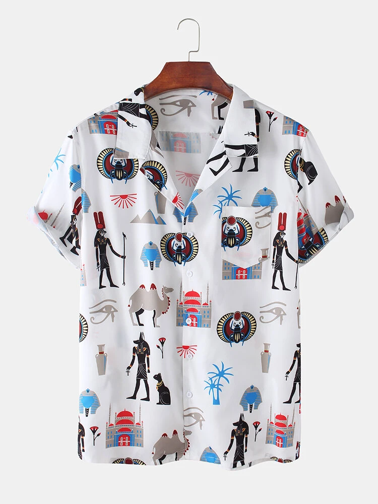 Mens Funny Character Cartoon Breathable Lapel Casual Shirts