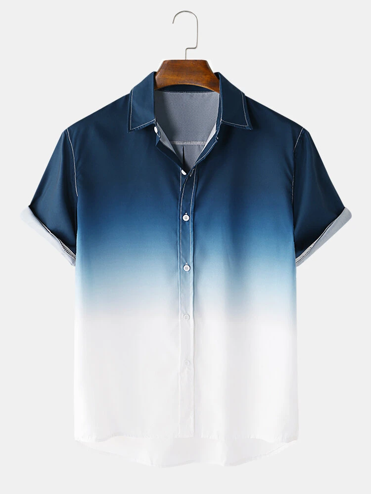 Mens Blue Faded Designer Gradient Fold Down Collar Short Sleeve Casual Full Stiched Shirt