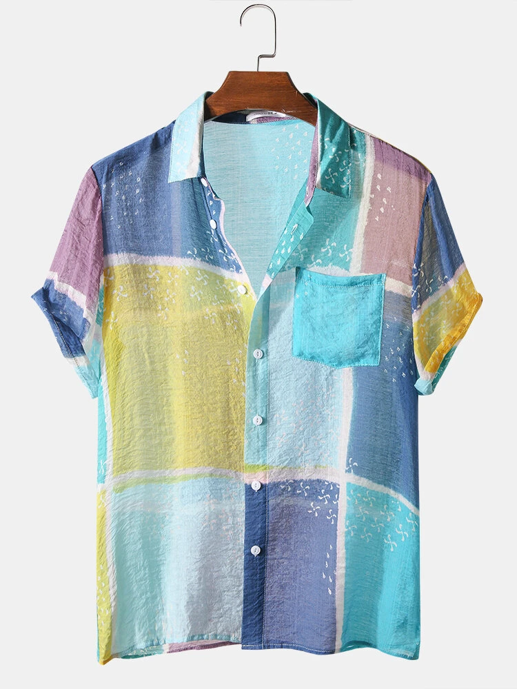 Mens Multi Color Patch Work Chest Pocket Fully Stitched Shirt