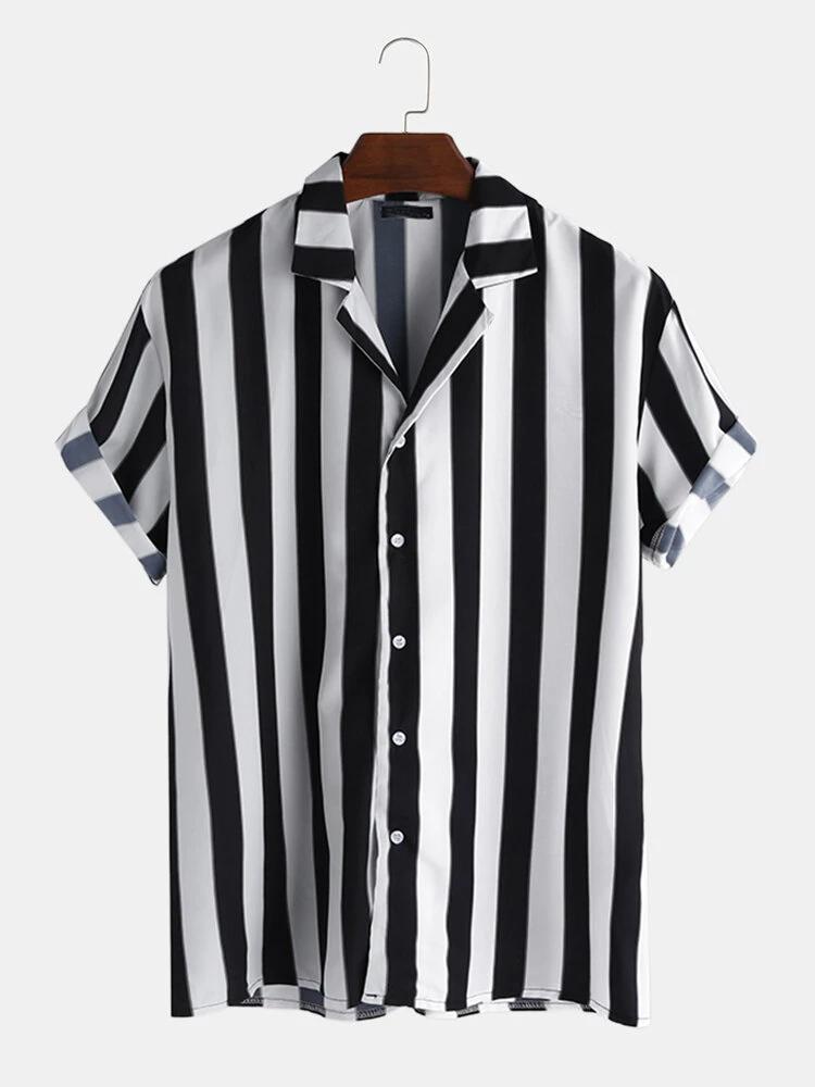 Mens White and Black Striped Short Sleeves Shirt