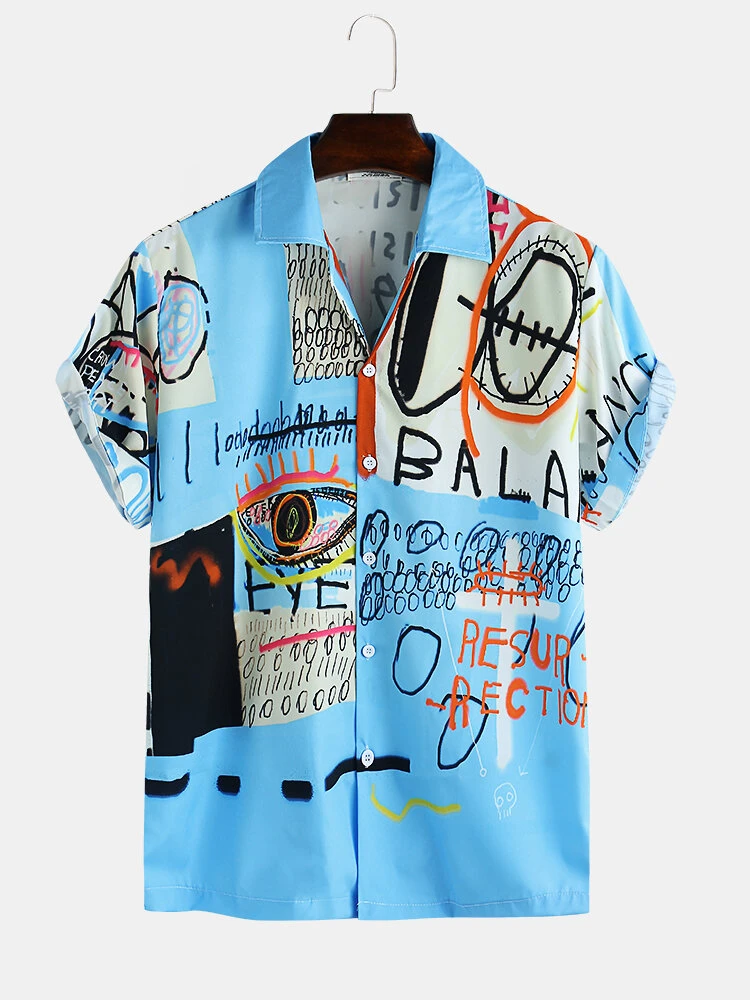 Mens Polyester Blue Jay Chou Mojito Style Vacation Look Fully Stitched Shirt