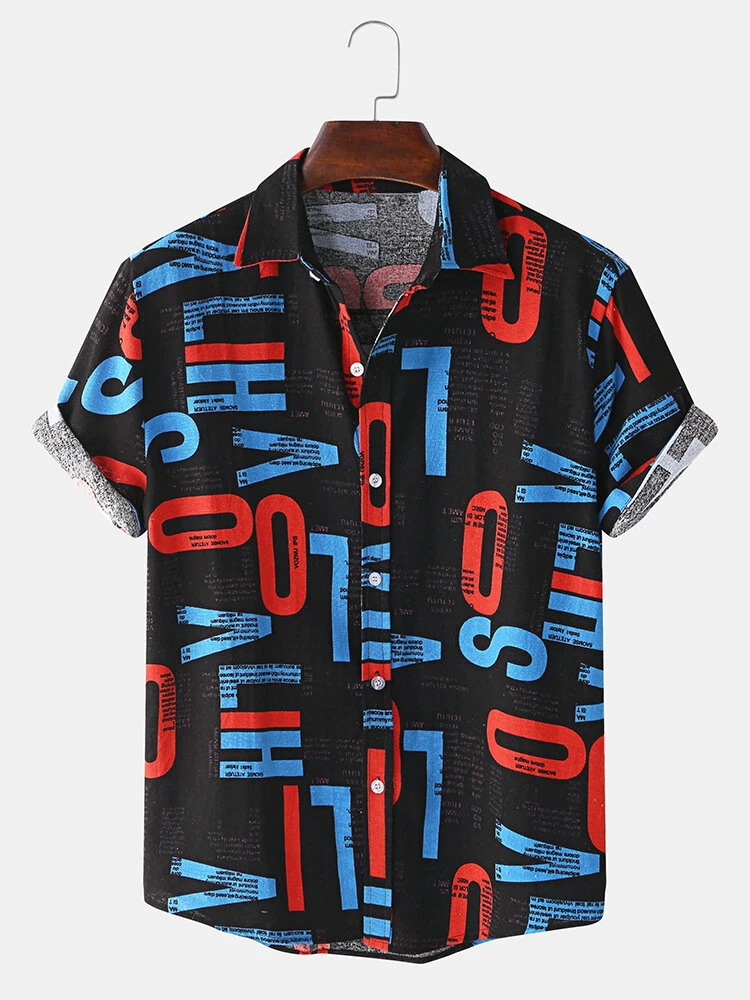 Mens Black Cotton Letter Print Turn Down Collar Short Sleeve Fully Stitched Shirt
