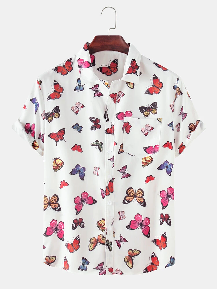Butterfly Printed White Cotton Holiday Look  Casual Shirt With Pocket