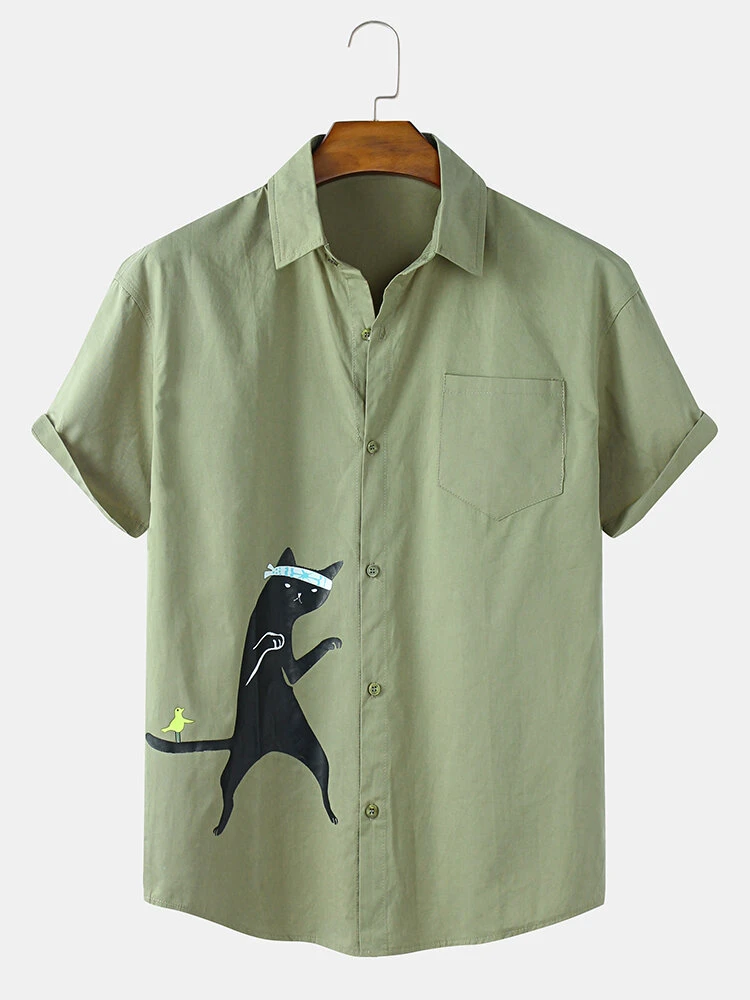 Olive Green Cat Printed Lapel Neckline Cotton Shirt For Men With Pocket