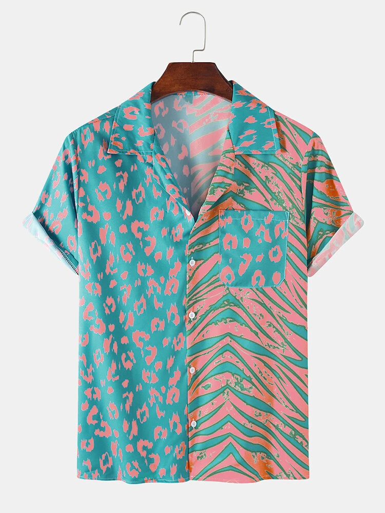 Multi Color Leopard Zebra Mixed Print Holiday Look Revere Collar Shirt For Men
