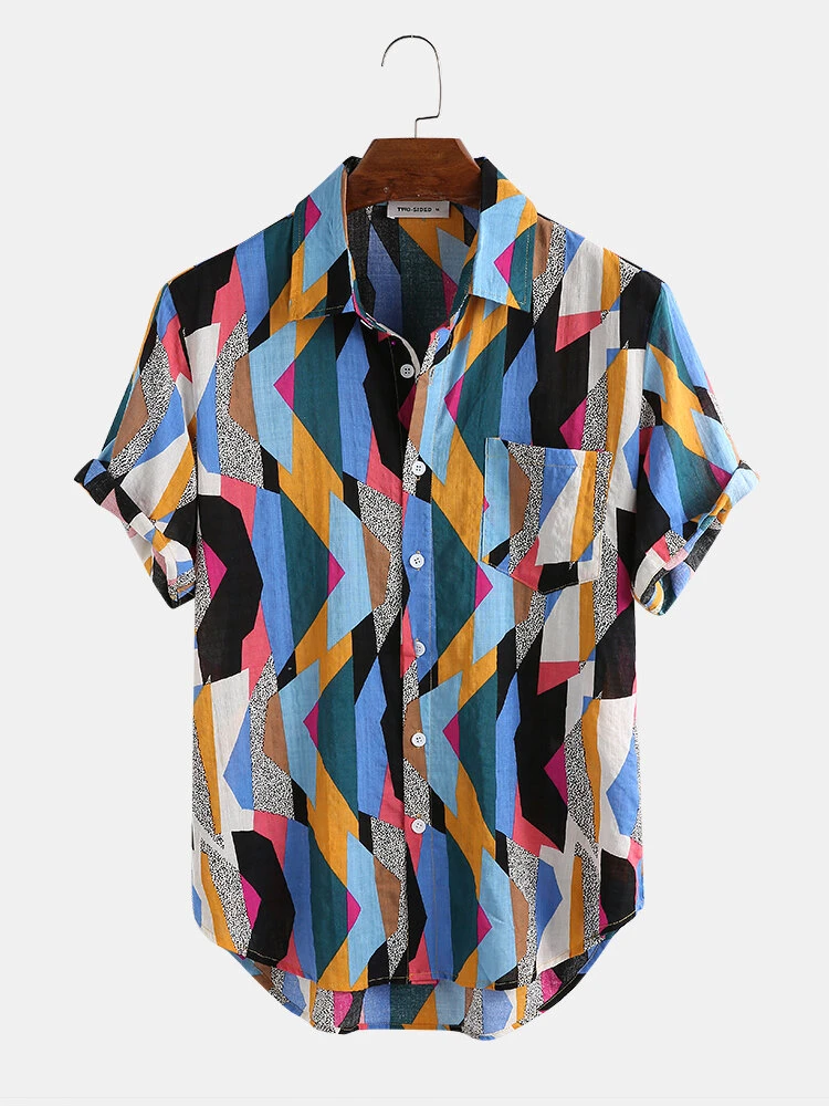 Blue Color Cotton Turn Down Collar Abstarct Print Fully Stitched Shirt For Men
