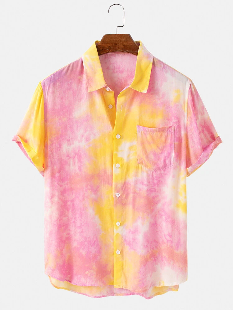 Pink Tie-Dye Fully Stitched Turn Down Collar Short Sleeve Shirt For Men