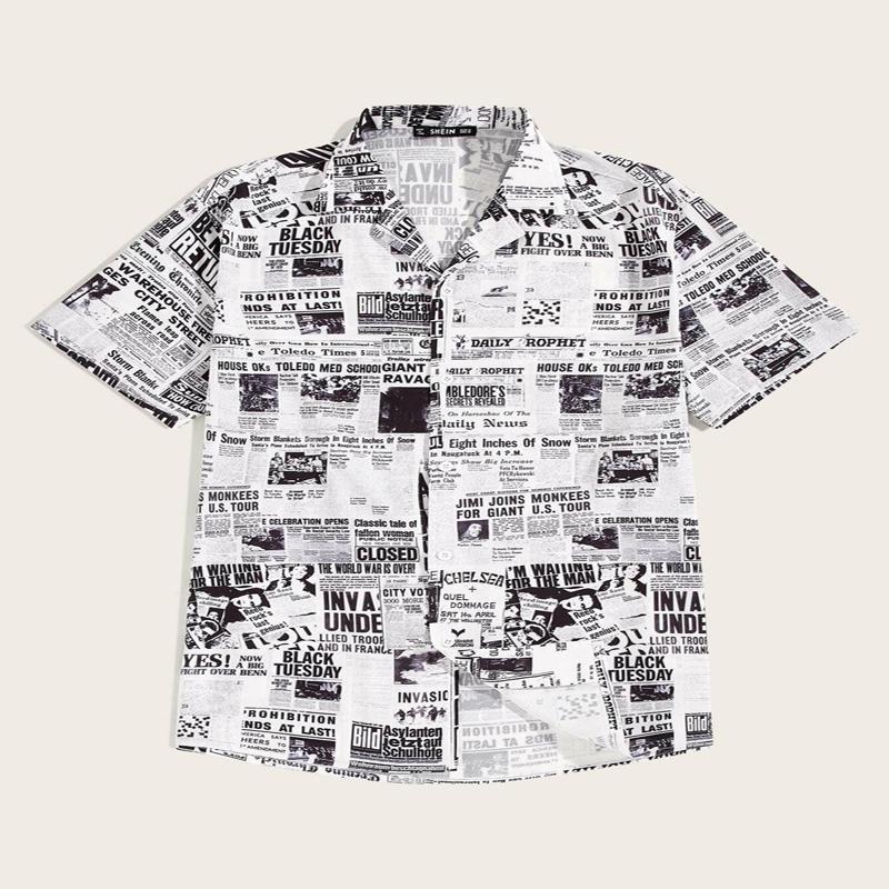 Black And White Newspaper Print Revere Collar Shirt For Men