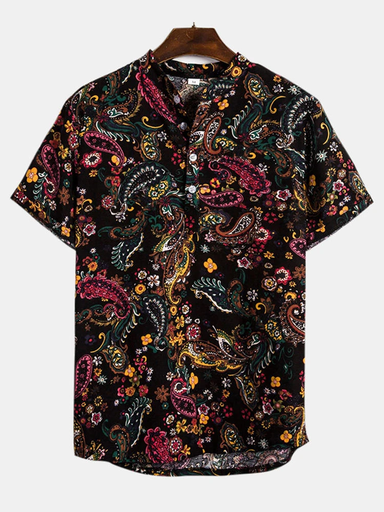 Black Summer Fashion Ethnic Printed Breathable Casual Shirt For Men
