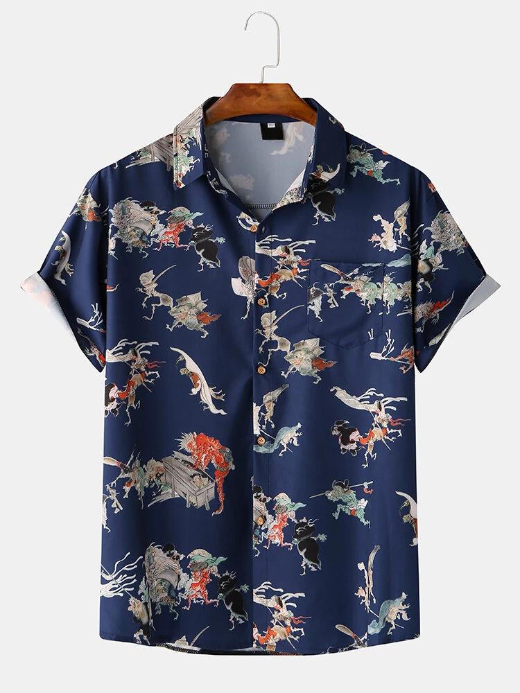 Navy Blue Fashion Beach Cartoon Character Print Shirt For Men