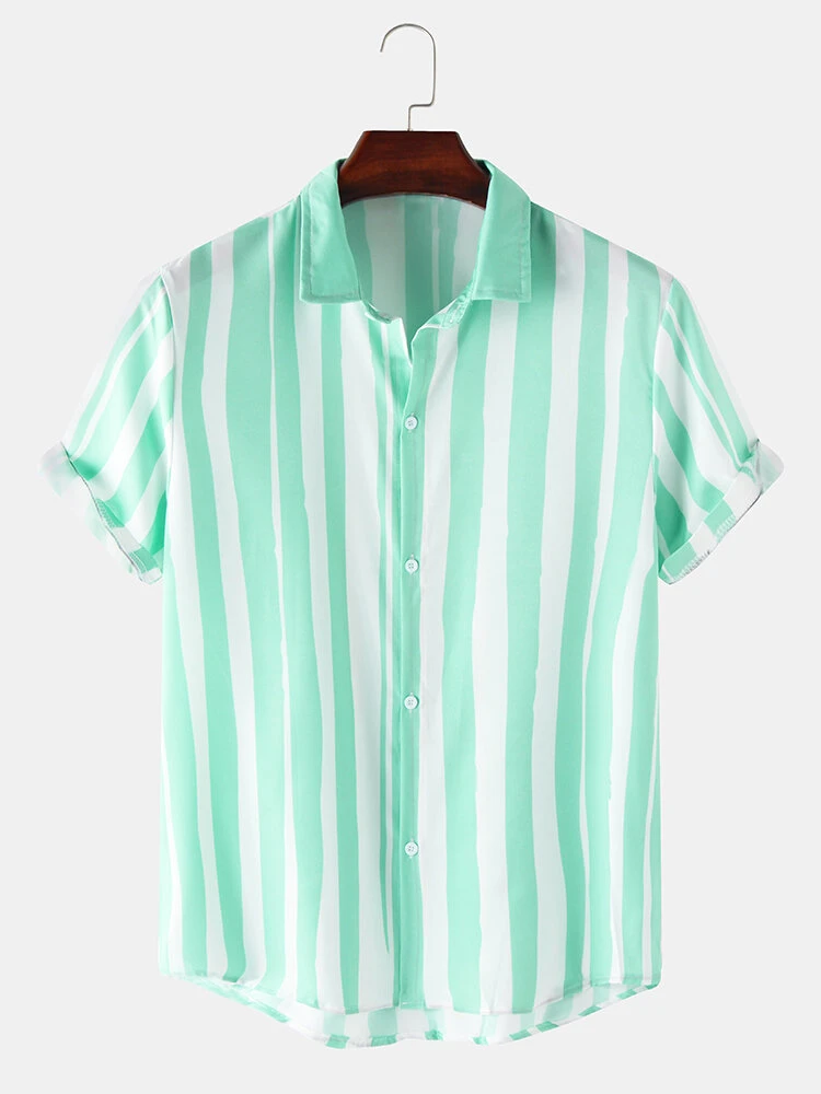Green Colorful Striped Designed Short Sleeve Breathable Casual Shirt For Men