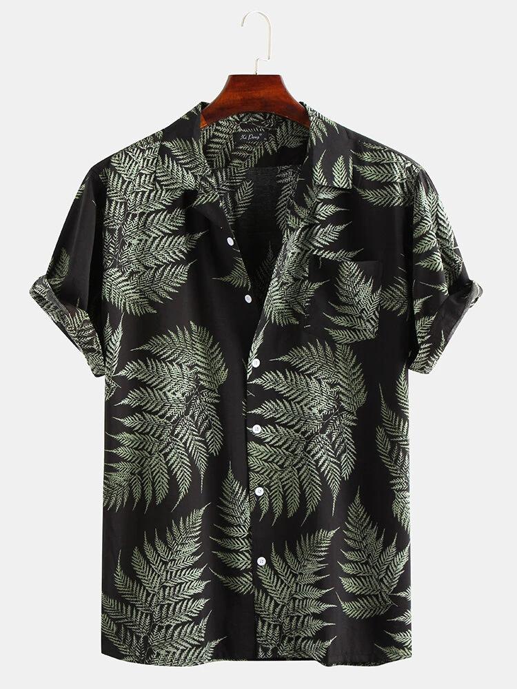 Black Pine Leaves Print Cotton Short Sleeve Relaxed Shirt For Men