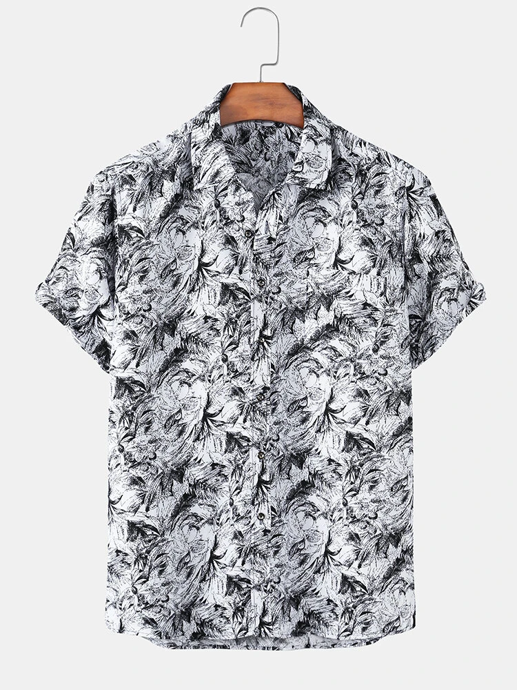 White Casual Tree Print Lapel Short Sleeve Shirt For Men
