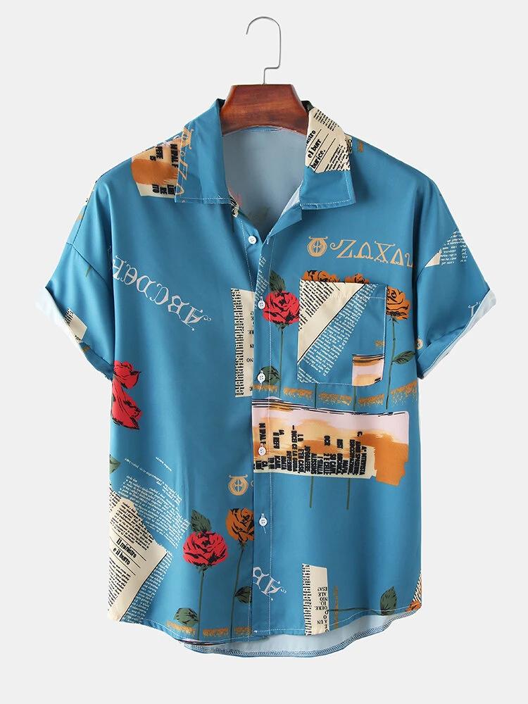 Blue Vintage Rose Letter Print Loose Casual Short Sleeve Shirt With Pocket For Men
