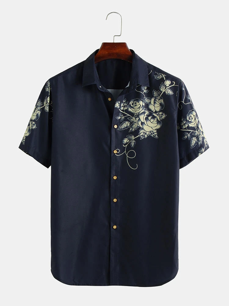 Navy Blue Floral Printed Single Breasted Short Sleeve Shirt For Men