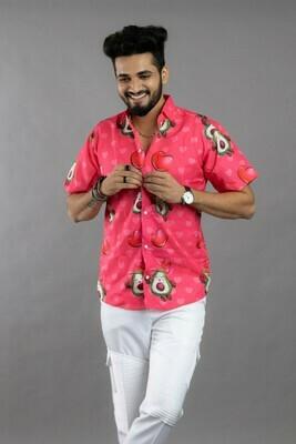 Mens Avocado Cartoon Printed Pink Casual Cotton Shirt