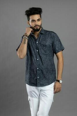 Mens Black and Grey Short Sleeves Faded Printed Shirt