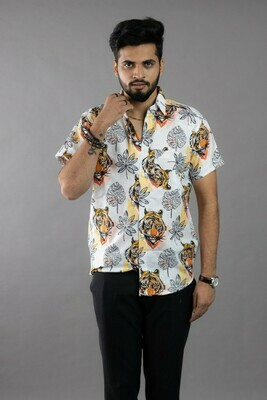 Mens White Tiger and Leaf Printed Short Sleeves Cotton Shirt Online